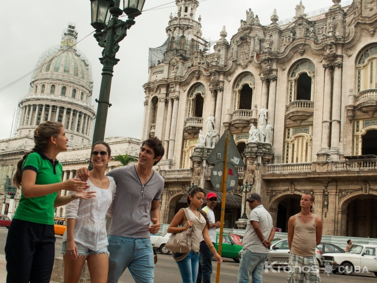 """Central Park, Inglaterra Hotel, The Great Theater and The Capitol of Havana panoramic view - """"Visit to Havana"""" Tour"""