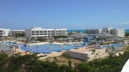 Panoramic hotel & pool view