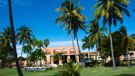 Hotel entrance panoramic view